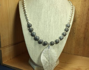 Natural Silver Druzy Agate Necklace