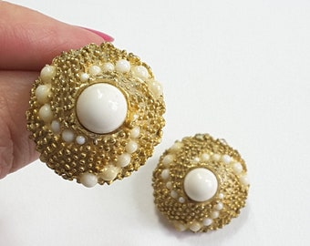 50s Gold and Pearl Swirl Clip-On Earrings, White Center Stone on Goldtone Metal Settings, Cyclone Design, Perfect Vintage