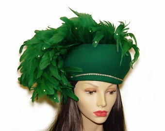 Jack McConnell Hat, Monumental Emerald Green Feather Plume, Rhinestones