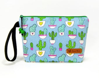 Cactus Zipper Pouch, Cosmetic Bag, Makeup Bag, Toiletry Bag, Supply Bag, Purse Organizer, Zipper Wristlet, Zipper Bag, Canvas Bag, Blue Bag