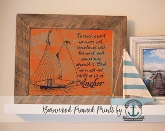 Oliver Wendell Holmes Sailboat - Reclaimed Barnwood Framed Print - Ready to Hang - Sizes at Dropdown
