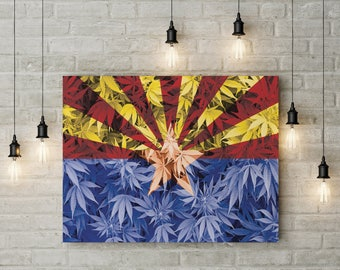 Weed Leaf Arizona Flag Canvas