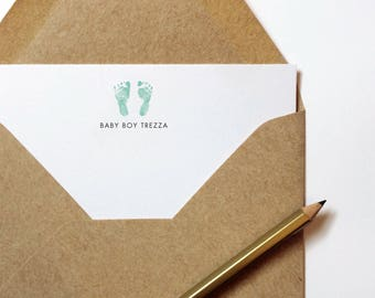 Baby Feet Note Cards, Personalized Stationery