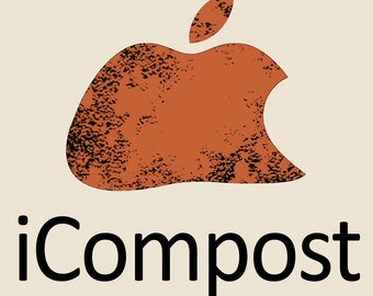 Gardening Shirt - Parody - Spoof - iCompost- Cotton Tee - Rotten Apple - Mac
