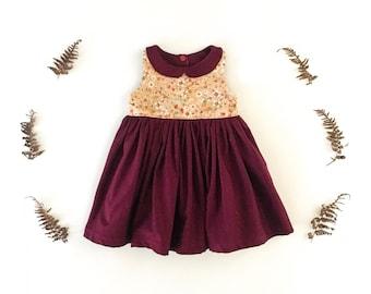 Burgundy floral colorblock dress, peter pan collar, cotton kids clothing, big sister little sister dress, winter wear