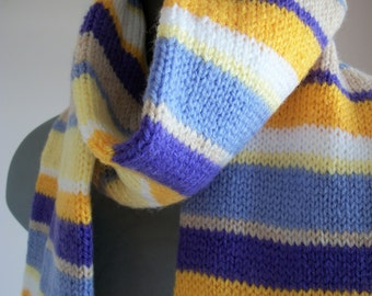 "Striped Scarf,hand Knitted extra long,Purple,Lilac,Lemon,Gold,Beige & White,length 77"" x wide 5.75"",Gift,Accessories,secret Santa,Tree Gift"