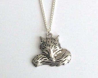 Fox necklace, silver necklace, jewellery, jewelry, gift for her, charm necklace, bridesmaid gift,