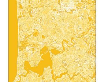 Perth Australia Cityscape Map Art / Graphic Aerial City Art Print / 8x10 / Choose your Color