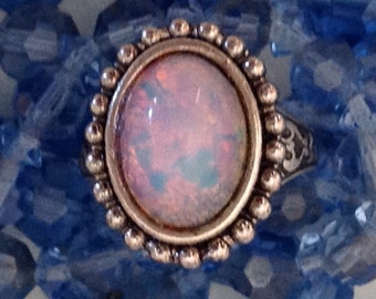 Opal Ring, Vintage Harlequin Fire, Antique Silver, Adjustable
