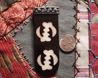 Adinkra White on Dark Ox Bone Batik Double Gye Nyame Tongue Pendant with Silver Cap and Loop