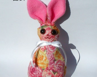Rosa - Bunny Rabbit, rose patterned stuffed animal doll, for Easter Decoration or Kid Toy, w/ pink fleece ears and white ribbon