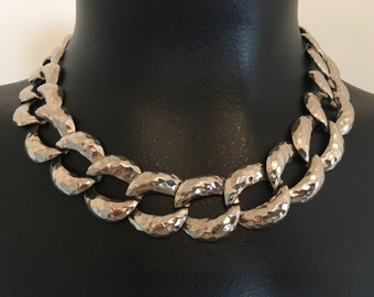 Vintage Hammered Chunky Chain Choker Necklace