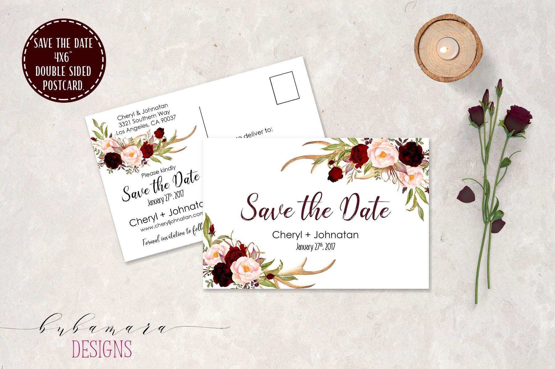 Postcard Deer Antlers Wedding Save the Date Invitation