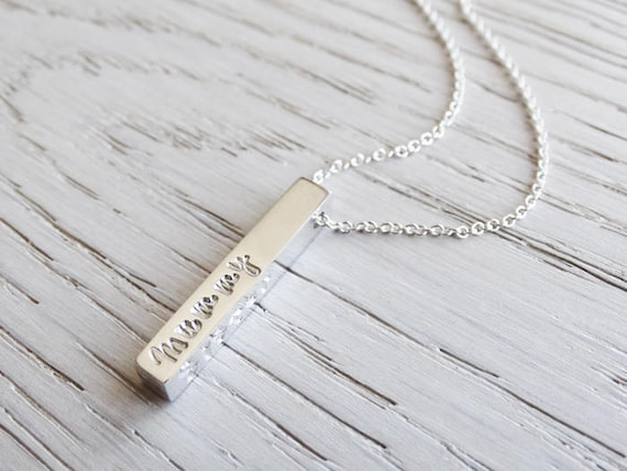 Personalised Silver Bar Necklace ~ Sterling Silver