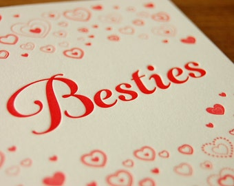 Besties Letterpress Valentine Card