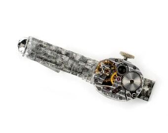 Steampunk 1950's Hamilton Watch Tie Bar Alligator Clip