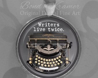 Writer Quote & Vintage Typewriter Pendant - Author Gift - Writer Gift - Writer Quote - Gift Ideas for Writers - Aspiring Author Gift