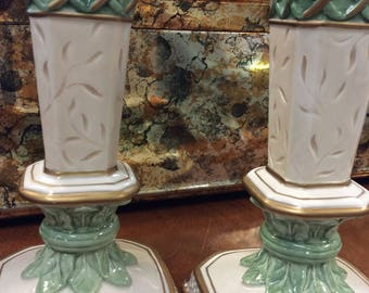 Fitz and Floyd Mint Green Ceramic Candle Holders