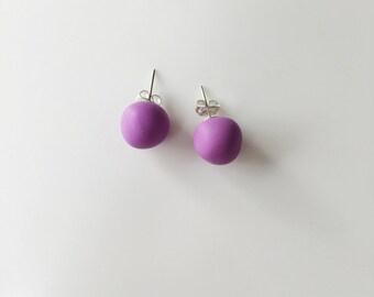 Lilac Stud Earrings, Round Earrings, Geometric Earrings, Chunky Earrings, Minimalist Earrings, Polymer Clay, Stud Earrings, Boho Earrings