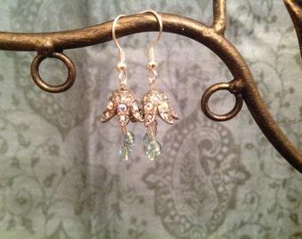 Tiny Flower Fairy Swarovski Crystal Bellflower Earrings