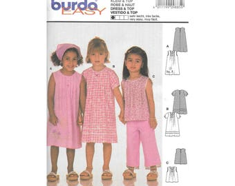 Girls Sleeveless Short Sleeve Dress Top 2 to 6 Sewing Pattern Burda 9885
