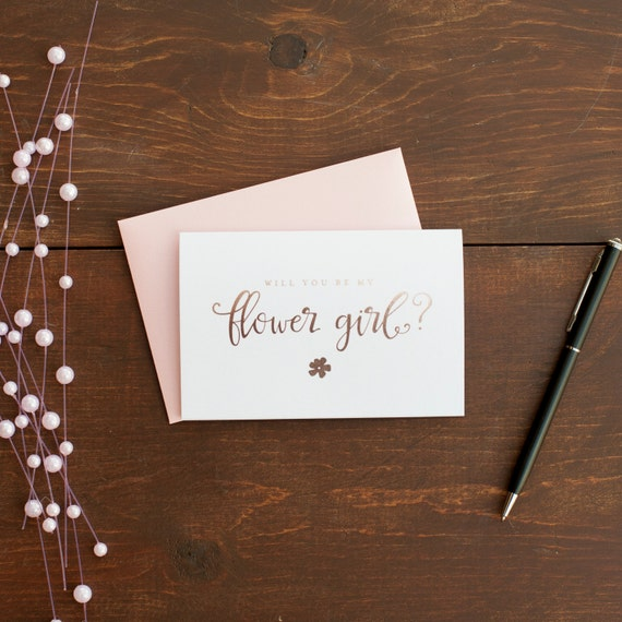 Rose Gold Foil Will You Be My Flower Girl card bridal party card foil stamped notecard wedding party bridal party flower girl invitation