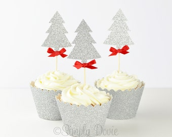 Silver Glitter Christmas Tree Cupcake Topper, Christmas Tree Silver Glitter Cupcake Topper, Party Decorations, Birthday Party, Christmas