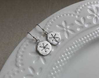 Snowflake Earrings. Snowflake Disc Earrings. Dangle Earrings. Simple Winter Jewelry. Christmas Gift