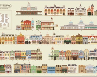 "The Buildings of Main Street Walt Disney World Poster 24"" x 36"""