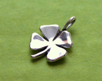 Shamrock Charm, Sterling Silver, Four Leaf Clover Charm, St. Patrick's Day, Irish - 13mm