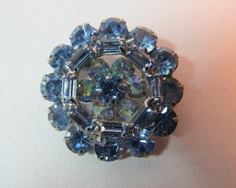 WEISS Blue & Iridescent Rhinestone Pin