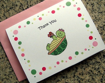turtle girl notecards / thank you cards birthday party with pink envelopes (blank or custom printed inside) - set of 10
