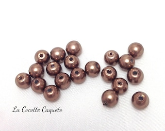 20 round glass pearls - Brown - 6 mm