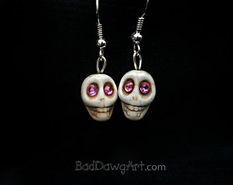 Dia De Los Muertos Day of the Dead Colorful 10mm Sugar Skull Skeleton Earrings
