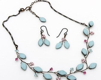 blue and pink bridal necklace and earring set, vine necklace, beaded necklace, leaf necklace, nature jewelry, bridesmaids necklace N522