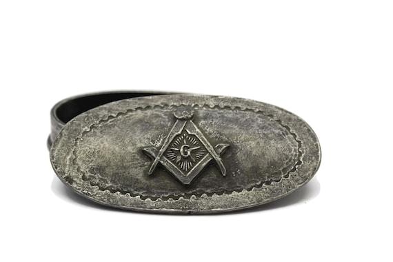 Vintage Masonic Jewelry Box French Pewter Free Mason Trinket