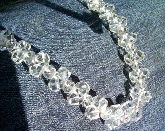 """Long 28""""  ROCK CRYSTAL Faceted Necklace - Beads - Graduated  - VINTAGE - Antique - Flapper Style - Very Good Condition"""