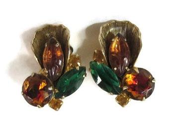 Juliana Amber & Green Rhinestone Earrings Vintage