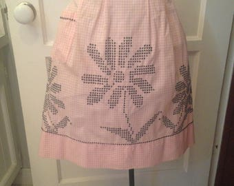 Iconic Vintage 1950's Pink And White Gingham Half Apron With Huge Black Cross Stitch/Chicken Scratch Daisies/Sunflowers--Vintage Apron