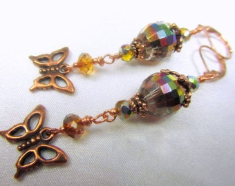 Butterfly Earrings in Multicolor Golden Vitrail Crystals and Copper - 3 inches long