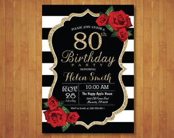 80th Birthday Invitation for Women. Red Roses. Black and White Stripes. Gold Glitter. 40th 50th 60th 70th 90th Any Age. Printable Digital.