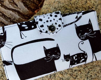 Cat Checkbook Cover, Pet Themed  Coupon Wallet, Fabric Checkbook Cover, Cat Gift, Vet Gift
