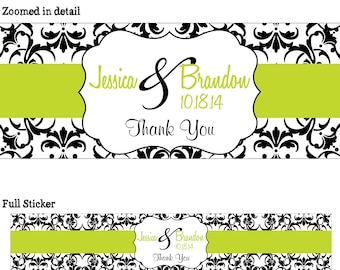 50 Custom Glossy WATERPROOF Wedding Water Bottle Labels - many designs to choose from - change designs to any color or wording WW-037