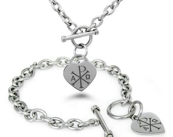 Stainless Steel Chi Rho Alpha Omega Symbol Heart Charm Toggle Bracelet & Necklace Set / Silver / Rose / Gold