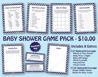 Baby Shower Game Pack Navy Pastel Blue -70% OFF- PRINTABLE Baby Shower Games 8 Pack -Navy Blue Pastel Blue -Nautical Party Diaper Raffle