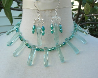 """SALE - 50% off, Ocean Green Dazzler, Glass """"Spikes,"""" Crystal Beads,Rhinestone Clasp,Great Earrings,Bold Choker Necklace Set by SandraDesigns"""
