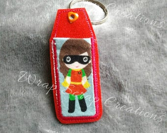 Lip Balm Holder - Girl Robin knit fabric