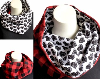 Reversable Flannel Cowl, Buffalo Plaid Reverses to Fun Print in Black,Hooded Scarf, Chalboard Lettering, Sushi Print, Hooded Cowl