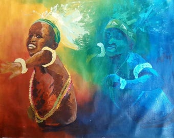 Rhythmical madness,African paintings,African art,acrylics on canvas painting,Hand painting.