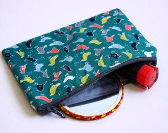 Birds purse, bird fabric purse, bird fabric cotton purse, little birds cotton purse, green bird print coin purse, birds coin purse, UK gifts